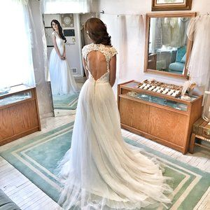 KEYHOLE back Lace & Tulle Wedding Dress